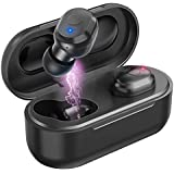 Wireless Earbuds, Bovon Dual True Wireless Bluetooth 5.0 HiFi Stereo Earbuds, Mini In-ear Easy-Pair Sports Bluetooth Headphones (Total 15Hrs Playtime, Noise Cancelling, Portable Charging Case) (black)