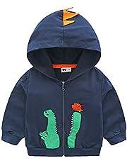 Toddler Boys Jacket Cartoon Dinosaur Animal Zipper Packaway Spring Autumn Hoodies Coat for Kids 1-7 Years