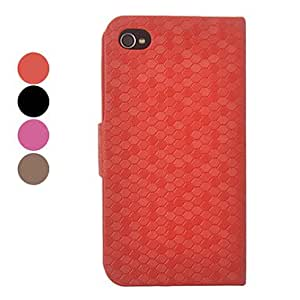 Snakeskin Grain PU Leather Full Body Hard Case for iPhone 4/4S(Assorted Colors) --- COLOR:Black