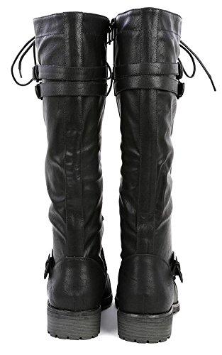 Wild Timberly Pu Fashion Women's Black Boots Shoes Diva 65 High Combat 11 Knee Military rwrf1qxC