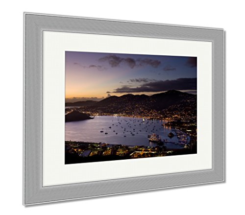 Ashley Framed Prints Town Of Charlotte Amalie And Harbor, Wall Art Home Decoration, Color, 30x35 (frame size), Silver Frame, - At Town Shops Harbour
