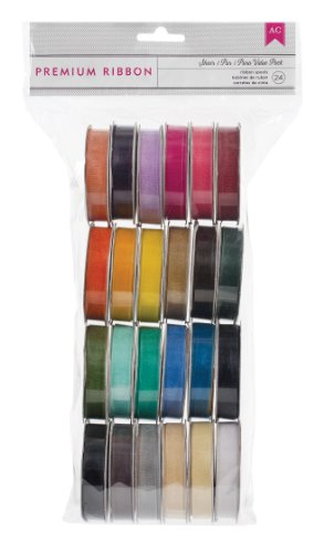 Extreme Value Solid Sheer Ribbon Variety Pack by American Crafts | 24 pack | Includes 24 rolls of sheer ribbon in various solid colors