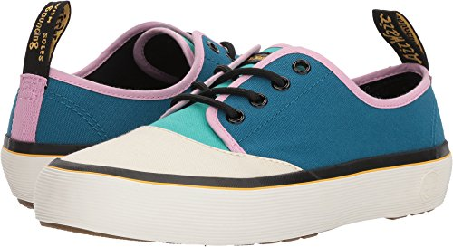Dr. Martens Women's Jacy Bone/Teal/Mallow Pink/Port Blue 10 Oz Canvas/Black T Lamper 6 M UK 90s Black Platform
