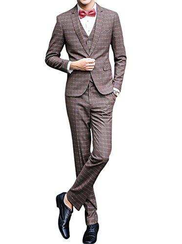 Costume 3 Style Pièces Pantalon Veste Pour Occidental Gilet Hommes Brun vSxqPwvAr