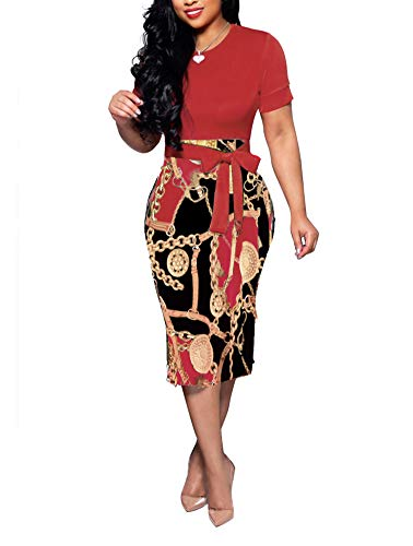 Women' Short Sleeve Bodycon Dress -Cute Bowknot Floral Pencil Dress XX-Large Red