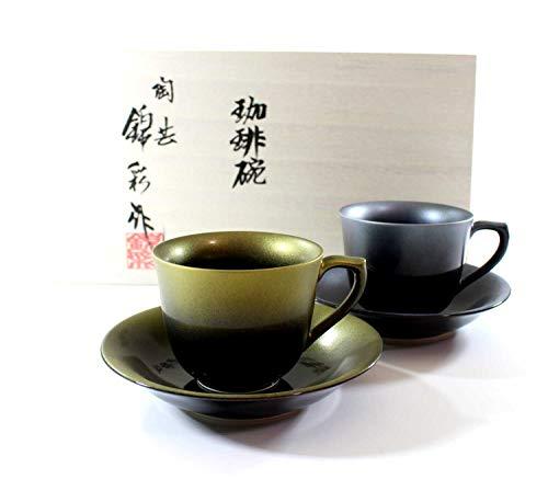 Porcelain potter Fujii NishikiAya Tianmu gold Platinum Aya coffee cup pair set   gifts   Gifts   Present   souvenir
