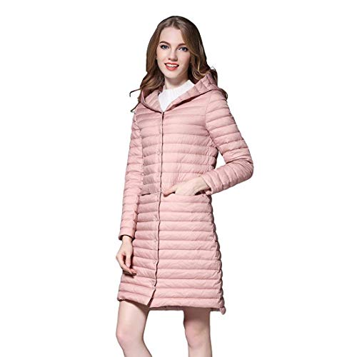 Doudoune Femme Hiver Longues Manteaux lgant Mode Impermable Legere Outerwear Slim Fit Lgrement Rembourr breal Warm Bouton Gaine A Capuche (Color : Rosa, Size : S)
