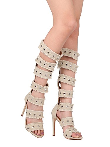 Alrisco Knee High Open Toe Frayed Grommet Stiletto Gladiator Sandal HH80 - Nude Canvas (Size: 8.5)