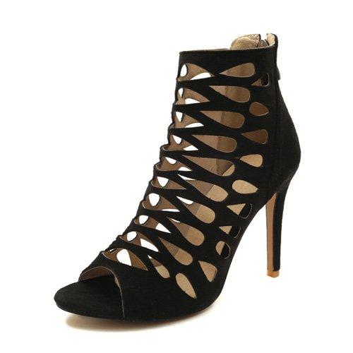 JUWOJIA Mujeres Sandalias De Tacón Alto Super Delgada Zipper Hueco Zapatos De Verano Negro