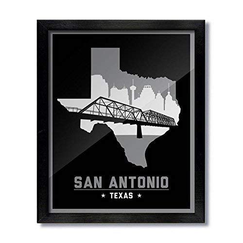 San Antonio, Texas Skyline Print - Black (Antonio Sites San)