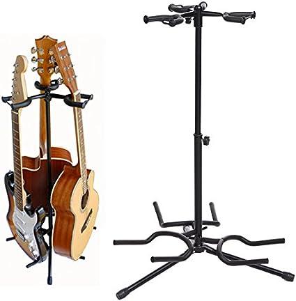 MUSIC STORE Triple Guitar Stand Lockable Universal