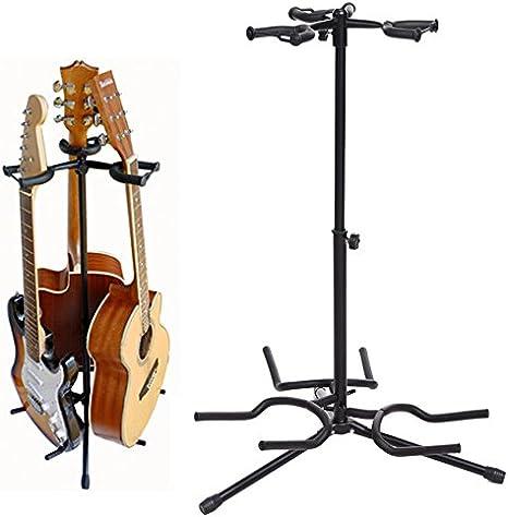 Pujuas - Soporte plegable para guitarra (3 compartimentos, metal ...