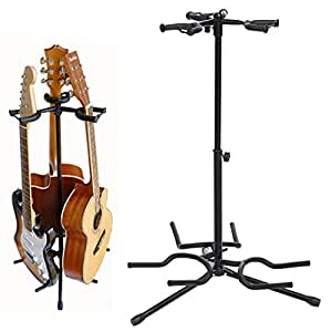 noeler triple guitar stand tripod adjustable multiple guitar stand for acoustic. Black Bedroom Furniture Sets. Home Design Ideas