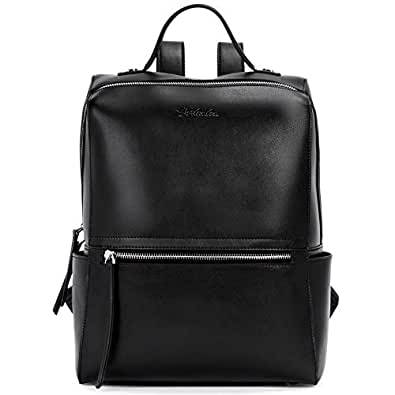 BOSTANTEN Genuine Leather Backpack Purse Fashion Casual College Travel Handbag for Women (Black)