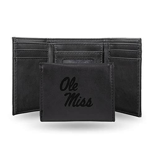 Rico Industries NCAA Mississippi Ole Miss Rebels Laser Engraved Tri-Fold Wallet, Black
