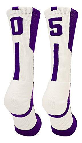 TCK Player Id Purple/White Number Crew Socks (#05, (05 Player)