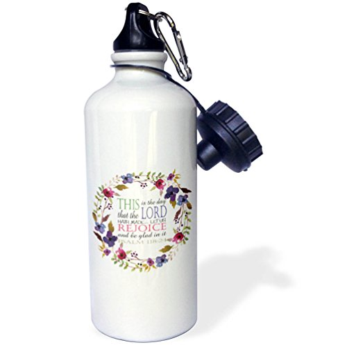 (3dRose TNMGraphics Scripture - Psalm 118 Floral Wreath This is the Day the Lord Has Made - 21 oz Sports Water Bottle)