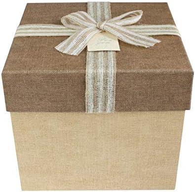 Emartbuy Caja de Regalo, 19.5 x 19.5 x 18 cm, Caja Marrón Claro Con Tapa Marrón Oscuro Texturizada: Amazon.es: Oficina y papelería