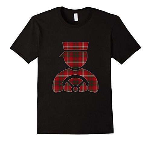 Mens Bus Driver Scottish Plaid T-shirt Christmas Tartan Gift 2XL Black