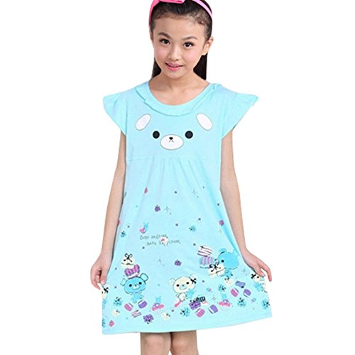 HAPPY CHERRY Cute Cotton Girls Nightgowns Pajamas -Blue, 160/76, 16