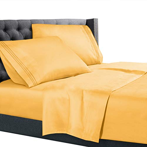 King Size Bed Sheets Set Yellow, Bedding Sheets Set on Amazon, 4-Piece Bed Set, Deep Pockets Fitted Sheet, 100% Luxury Soft Microfiber, Hypoallergenic, Cool & Breathable