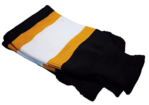 "Hockey Socks Knit Made in Canada for Hockey Players (Tyke 20"", 5 Black w Gold/White)"