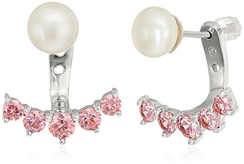 Platinum-Plated Sterling Silver Freshwater Cultured Pearl with Fancy Pink Color Swarovski Zirconia Earring Jacket
