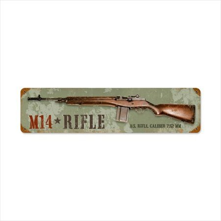 Past Time Signs HA012 M14 Rifle Allied Military Vintage Metal Sign M14 Metal