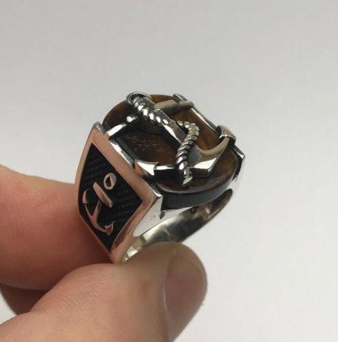 Turkish Jewelry Anchor Motif Tiger's Eye Stone 925K Sterling Silver Men's Ring