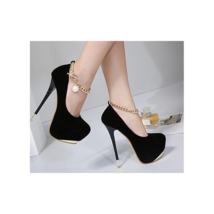 Scarpe E Borse Da Donna Col Tacco Mnii Elegante Punta A Stiletto Alto In Gomma Solida Pu Cuoio Party Club Pump Court Shoes 36 Black- Di Moda