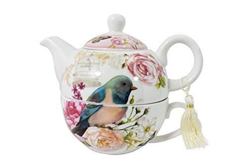 Victorian Shabby Chic Flower Garden Teapot & Cup - Tea for One Tea Pot Cup Set (Blue Bird & Flower)