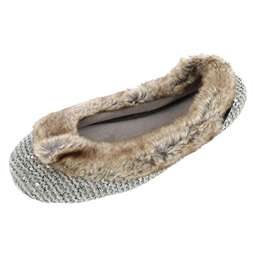 ISOTONER Women's Sequin Sweater Knit Ballerina Slipper, Medium (6.5-7.5), Stormy Grey