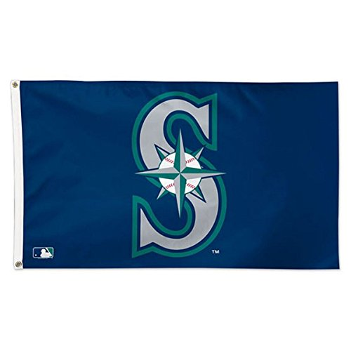 WinCraft MLB Seattle Mariners 01791115 Deluxe Flag, 3' x 5' (Mariners Seattle Hanging)