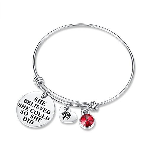 Ruby Birthstone Charm - July Birthstone Charm Bracelet - She Believed She Could So She Did Bracelets, Birthday Jewelry Gifts Heart Tree of Life for women girls her mom mother daughter wife lover sister friendship (Ruby)