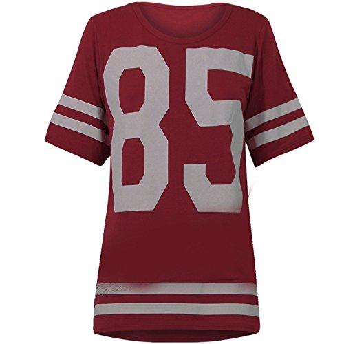Genluna Women's Football Jersey T Shirt Top Loose Dress [B6619],Wine,X-Large