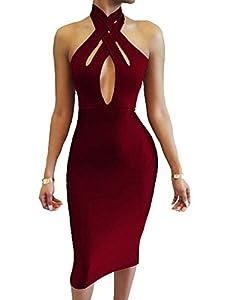 TOB Women's Sexy Halter Bodycon Off Shoulder Club Dress
