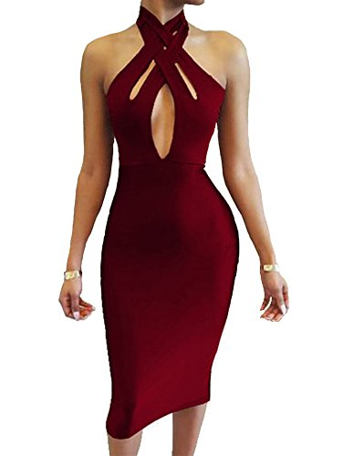 TOB Women's Sexy Halter Bodycon off Shoulder Club Dress