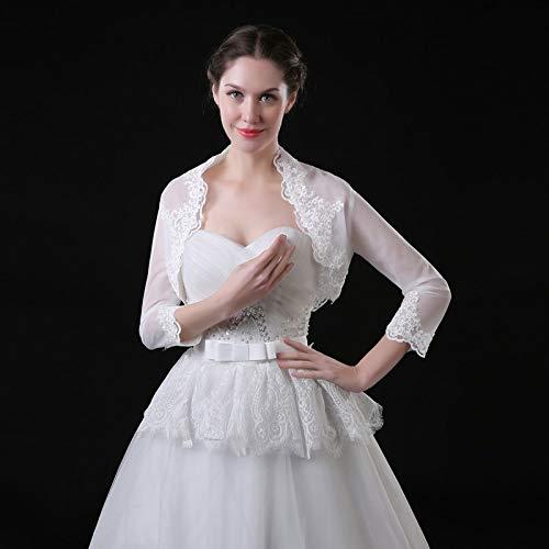 Jacket Stock Bridal - Mink Monk Hals Sleeve Bolero Bridal Jackets Wedding Lace Appliques Wedding Wraps in Stock for Summer