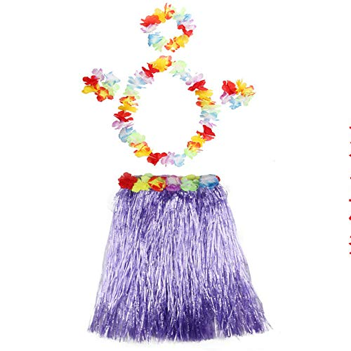 (Grass Skirts for Adults Hula Skirt Plus Size Hawaiian Skirt Elastic Waist Purple)