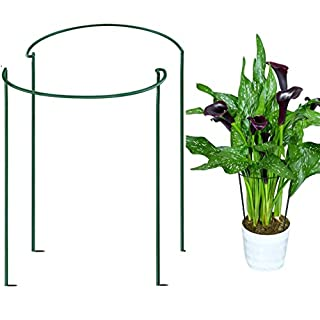 """GP  Garden Support Stake, Plant Support Stakes, 2-Pk Half Round Metal Garden Plant Supports for Potted Plants   Border Support   Plant Support Ring Cage for Rose Hydrangea Vine Peony (10"""" W x15.8"""" H )"""