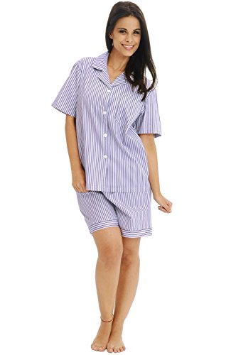 Alexander Del Rossa Womens Woven Cotton Pajama Set with Shorts, Button Down Pjs, Medium Pink and Purple Striped (A0502P45MD)