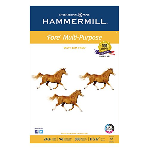 Hammermillamp;reg; - Fore MP White Multipurpose Paper, 96 Bright, 24lb, 11 x 17, 500 Sheets - Sold As 1 Ream - Optimized for sharper text and ()
