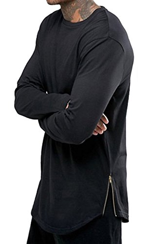 X&F Men's Fashionable Side Zipper Long Sleeve T-shirt Crew Neck Tee Tops M, Black