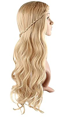 Blonde Curly Wig Women's Long Curly Wigs Cosplay Party Wig with Wig Cap(Light Blonde)