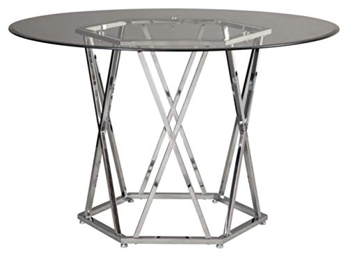 Signature Design By Ashley Madanere Round Dining Room Table Contemporary Style Glass Top Chrome Finish