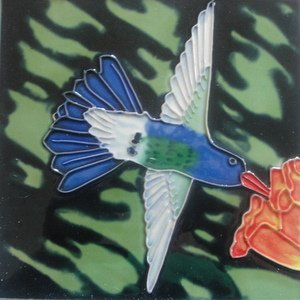 Hummingbird Humming Bird Ceramic Wall Art Tile 6x6