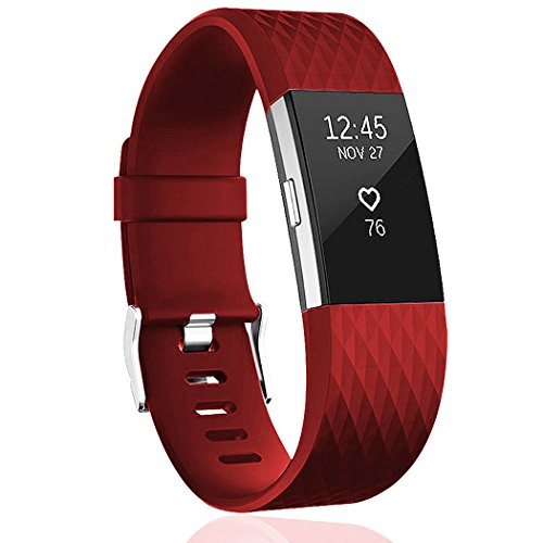 Wishesport For Fitbit Charge 2 Bands Special edition Replacement Bands Accessory Sport Bands Strap for Charge 2 HR Fitness Diamond S (Titanium Plate Head)