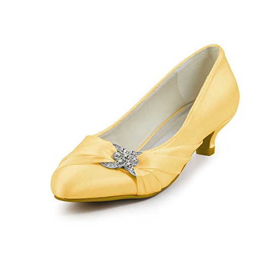 JIA JIA Bridal 0112A Satin Low Heel Closed toe Prom Party Dance Wedding shoes Wommen Pumps Gold V2Jt1KL