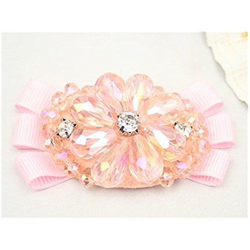 (Douqu 2Pcs Grosgrain Ribbon Handmade Beaded Rhinestone Crystal Bowknot Shoe Buckle Bridal Wedding Party Fashion Wild Removable Flower Shoe Clips)