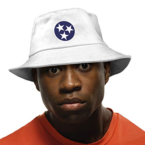 - Tennessee Tri Star Flag Unisex Fisherman Bucket Hat Outdoor Packable Sun Hat UV Protection White
